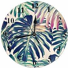 Palm Leaf Clock Tropical Jungle Forest Palm Tree