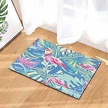 Palm Leaves. Flamingo. Door Mat Front Door Carpet
