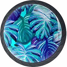 Palm Leaves Painting Drawer Pulls Handles Cabinet