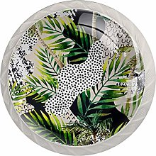 Palm Tree and Leaves 4PCS Drawer Knobs,Cabinet