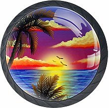Palm Tree Seaside Painting Cabinet Door Knobs