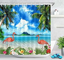 Palm Tree Tropical Flower Flamingo Seaside Scenery