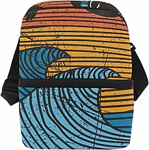 Palm Trees Sea Wave Surf Insulated Lunch Bag for