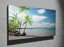 Palms and Caribbean Beach Photo Canvas Print