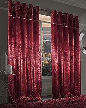 Paloma Diamante Velvet Curtains Eyelet Top Fully
