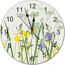 Pam9877ga Decorative Wall Clock Wildflower Round