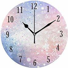 Pam9877ga Round Rainbow Colors Stars Wall Clock
