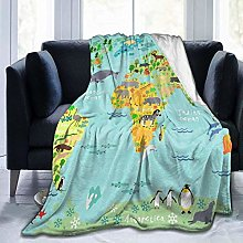 PAMPHLET Animal World Map Flannel Fleece