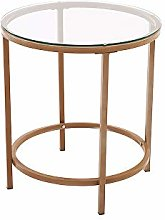 Panana 2 Tiers Glass Round Coffee Table Modern End