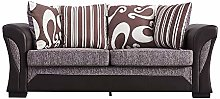 Panana 3 Seater Sofa Faux Leather and Fabric