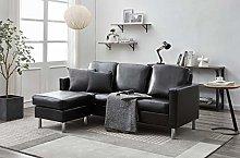 Panana 3 Seater Sofa with Footstool Fabric Grey