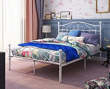 Panana 4FT6 Double Metal Bed Frame White Bedroom