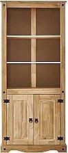 Panana Corona Tall Bookcase Unit Solid Pine Wood