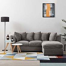 Panana Fabric Modern Sofa Jumbo Cord Settee Corner