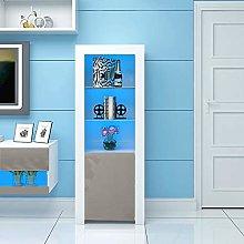 Panana High Gloss Tall Display Cabinet with LED