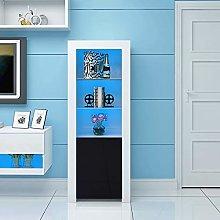 Panana High Gloss Tall Display Cabinet Wood