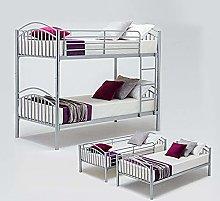Panana Metal Bunk Bed Frame, 2 x 3FT Single