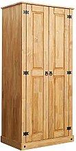 Panana Solid Pine 2 Door Wardrobe Smooth Flat Top