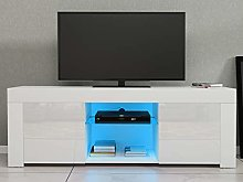 Panana TV Stand with 2 Doors, Modern LED media