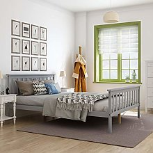 Panana White 4.6FT Double Bed Solid Wooden Bedroom