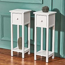 Panana White Bedside Cabinet Table Set of 2 French