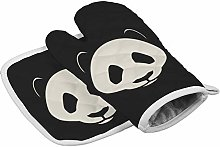 Panda Black Heat Resistant Oven Gloves Insulation