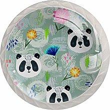 Panda Painting Door Knobs 4PCS Round Glass Door