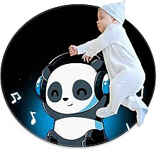 panda, Printed Round Rug for Kids Family Bedroom