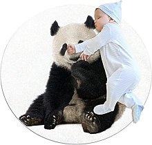 Panda, Round Area Rug Pattern Round Children Area