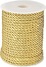 PandaHall 32 Yards 5mm Twisted Cord Gold 3-Ply