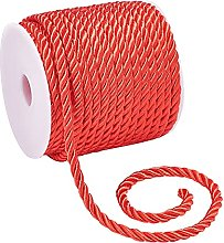 PandaHall 5mm Decorative Twisted Rope Red 3-Ply
