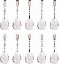 PandaHall Elite 10pcs Metal Clip Crystal Glass