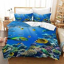 PANDAWDD 3 Pcs Reversible Duvet Cover Set,Blue Sea