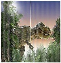 PANDAWDD Blackout Curtains 2 Panels 3D Dinosaur