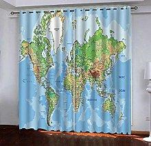 PANDAWDD Blackout Curtains 2 Panels Blue Map Set