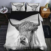 PANDAWDD Double Bedding Duvet Set 3D Animal Gray