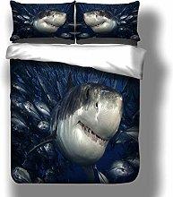PANDAWDD Double Bedding Duvet Set Blue Sea Animal