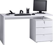 Pandoro Home Office Desk (Icy White/ White Gloss),