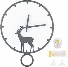 Pangding School Season Pendulum Clock, White+Gray