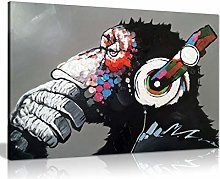 Panther Print Cool Ape With Dj Heaphones Canvas