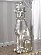 Panther with crown Ashanti ceramic statue in