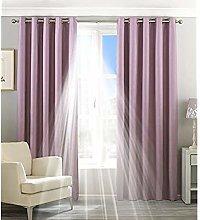Paoletti Two Curtain Panels, Cotton, Mauve, 66 x