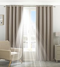Paoletti Two Curtain Panels, Polyester, Natural,