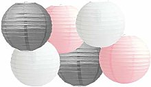 Paper Lanterns Mix Color Packs of 6 Round Paper