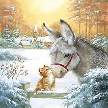 Paper Napkins Christmas Donkey and Kitten Lunch
