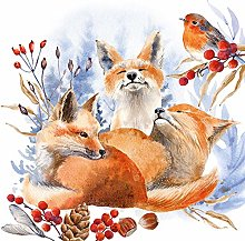 Paper Napkins Christmas Foxes and Robin Lunch
