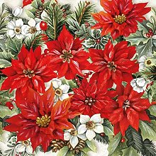 Paper Napkins Christmas Pointsettia All Over Lunch