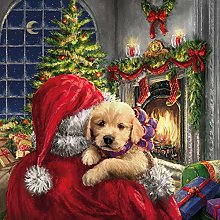 Paper Napkins Christmas Puppy at Fire with Santa