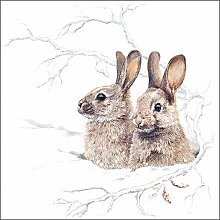 Paper Napkins Winter Morning Bunny Lunch Party