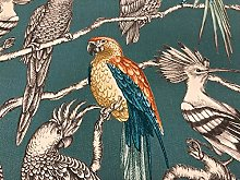 "Parakeets/Parrot Teal/Orange 140cm/54"" Curtain"